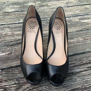 Vince Camuto Peep Toe Leather Heel